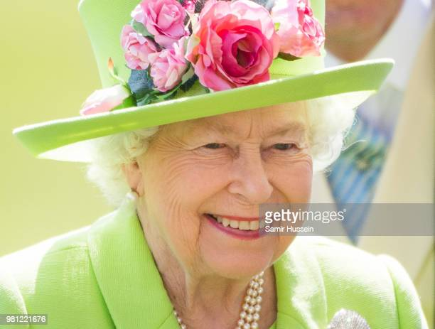 Queen Elizabeth II and John Warren attend Royal Ascot Day 4 at Ascot Racecourse on June 22 2018 in Ascot United Kingdom