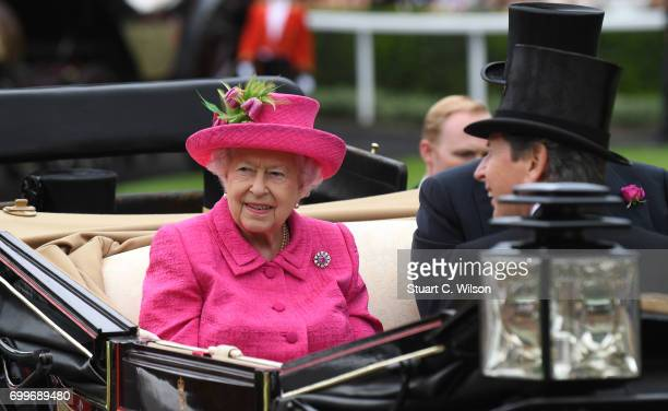 Queen Elizabeth II attends Royal Ascot Ladies Day 2017 at Ascot Racecourse on June 22 2017 in Ascot England