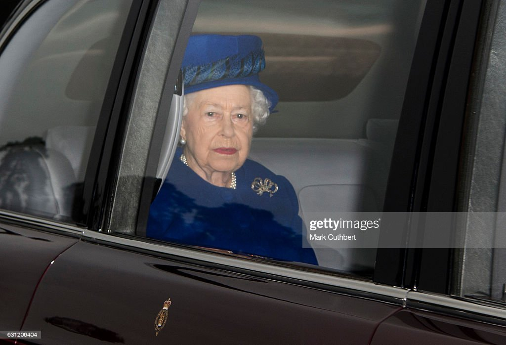 Queen Elizabeth II attends St Mary Magdalene Church at Sandringham on January 8, 2017 in King's Lynn, England.