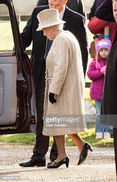 Queen Elizabeth II attends Sunday church service at Sandringham on December 28 2014 in King's Lynn England