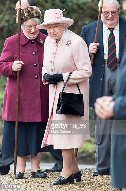 Queen Elizabeth II attends Sunday Church Service at West Newton on February 1 2015 in King's Lynn England