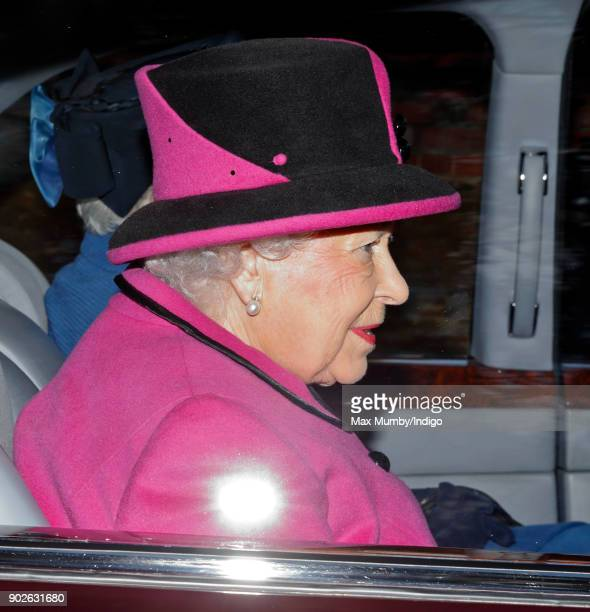 Queen Elizabeth II attends Sunday service at St Mary Magdalene Church Sandringham on January 7 2018 in King's Lynn England