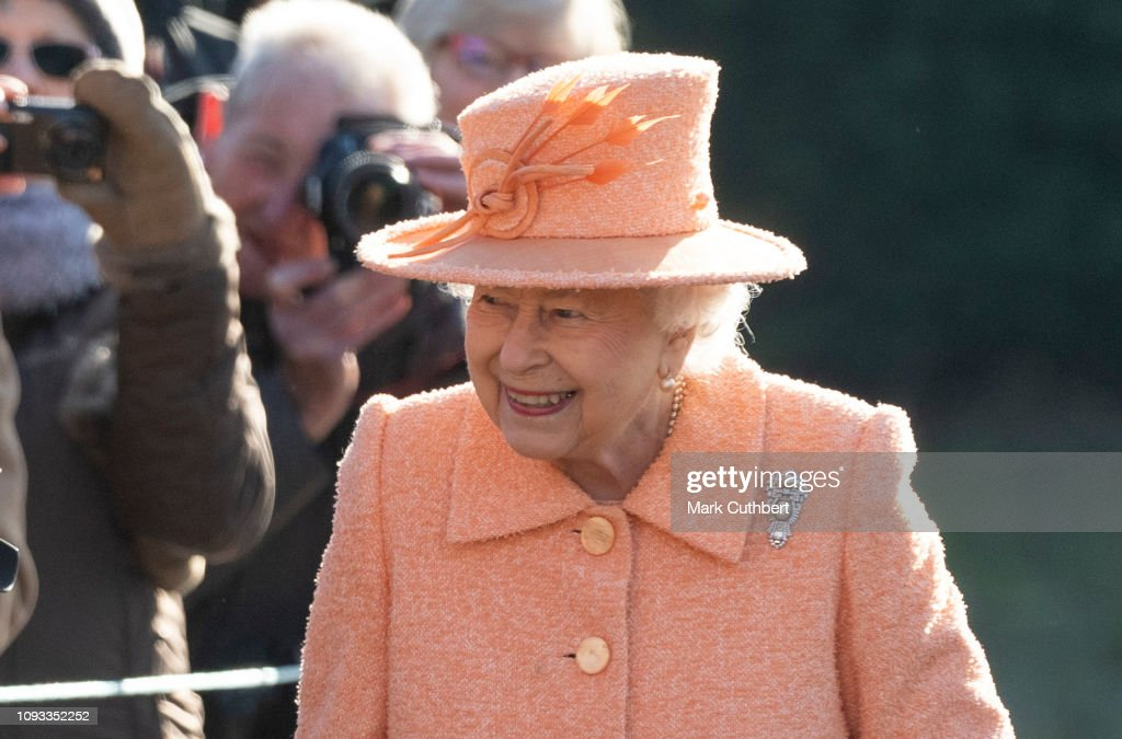 Queen Elizabeth Attends Sunday Service At St Peter & St Paul Church In West Newton : News Photo