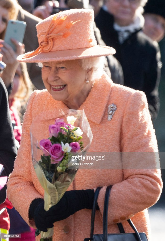 GBR: Queen Elizabeth Attends Sunday Service At St Peter & St Paul Church In West Newton