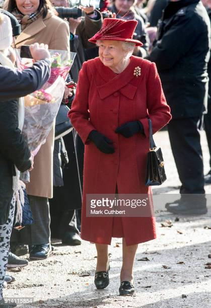 Queen Elizabeth II attends Sunday Service at St Peter and St Paul Church in West Newton on February 4 2018 in King's Lynn United Kingdom
