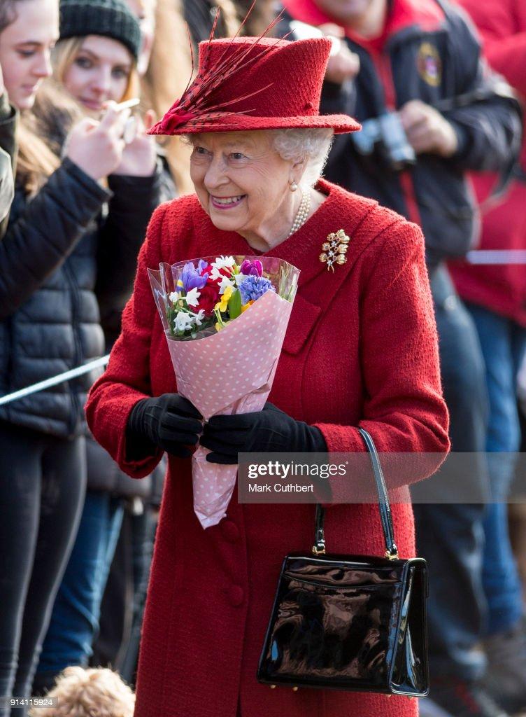 Queen Elizabeth II Attends Sunday Church Service