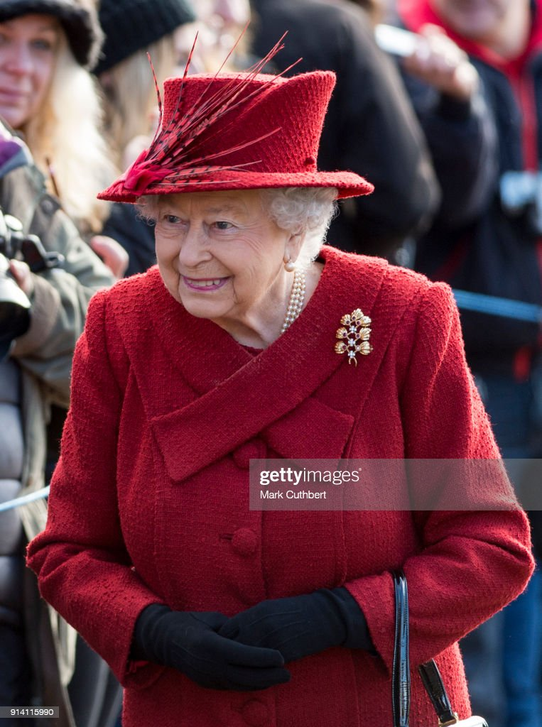Queen Elizabeth II attends Sunday Service at St Peter and St Paul Church in West Newton on February 4, 2018 in King's Lynn, United Kingdom.
