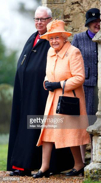 Queen Elizabeth II attends Sunday service at St Peter's church Wolferton near Sandringham House on January 19 2014 in Norwich England