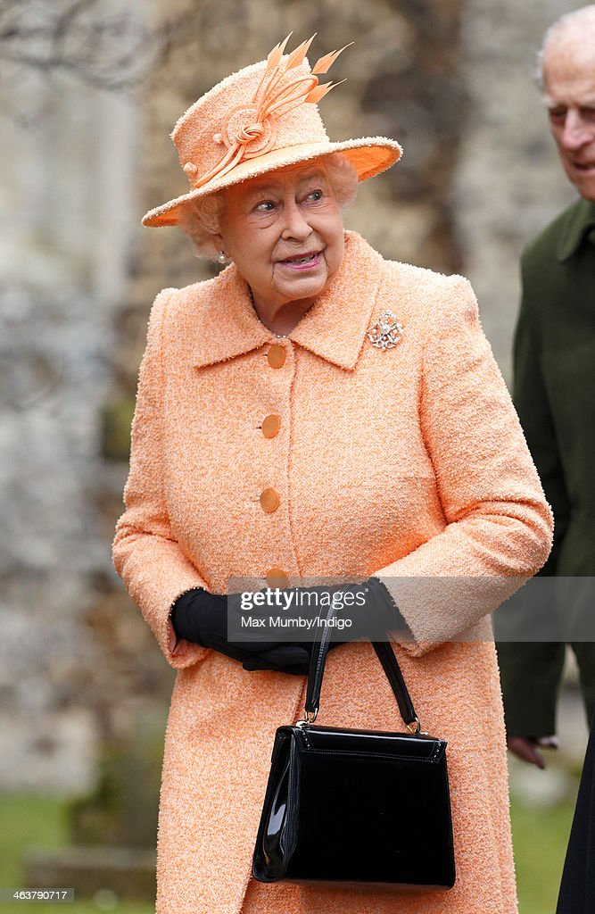Queen Elizabeth Attends Church At Wolferton : News Photo