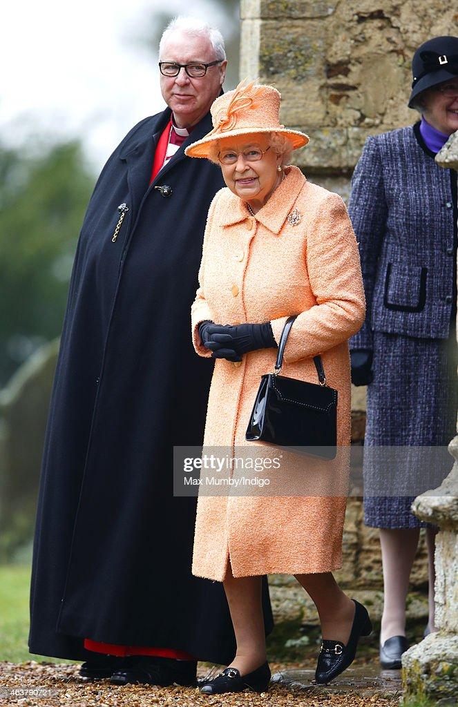 Queen Elizabeth Attends Church At Wolferton : News Photo