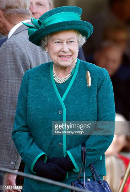 Queen Elizabeth II attends the 2007 Braemar Highland Gathering at The Princess Royal and Duke of Fife Memorial Park on September 1, 2007 in Braemar,...