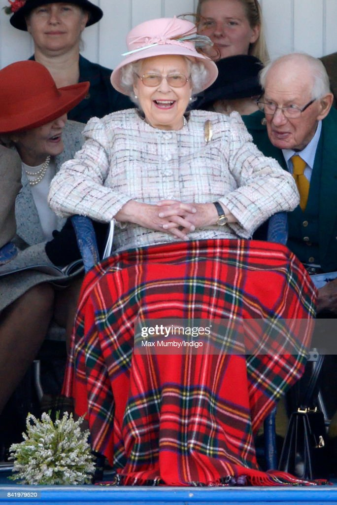 Queen Elizabeth II attends the 2017 Braemar Gathering at The Princess Royal and Duke of Fife Memorial Park on September 2, 2017 in Braemar, Scotland.