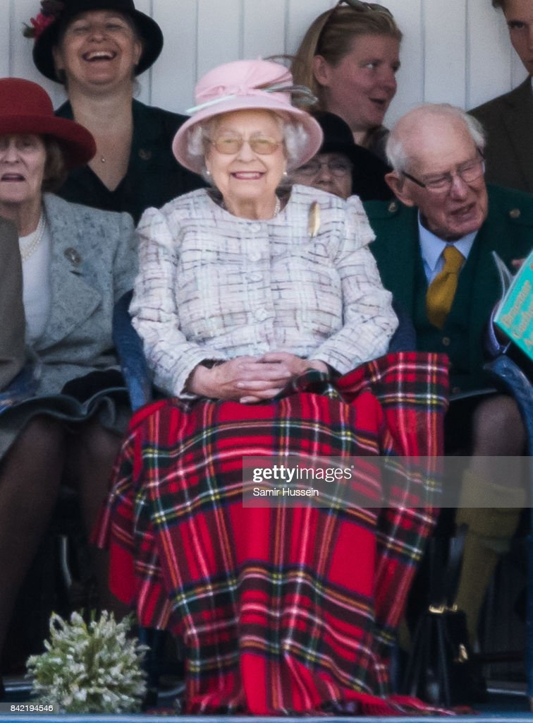 Queen Elizabeth II attends the 2017 Braemar Highland Gathering at The Princess Royal and Duke of Fife Memorial Park on September 2, 2017 in Braemar, Scotland.
