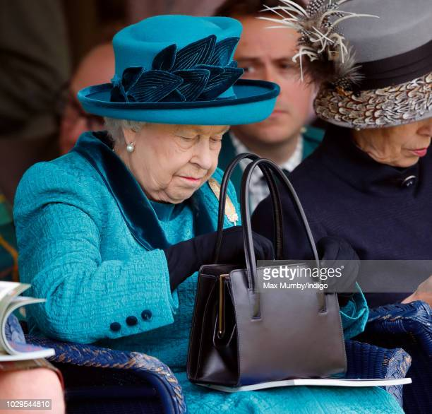 Queen Elizabeth II attends the 2018 Braemar Highland Gathering at The Princess Royal and Duke of Fife Memorial Park on September 1 2018 in Braemar...