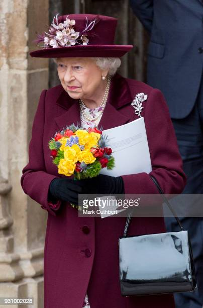 Queen Elizabeth II attends the 2018 Commonwealth Day service at Westminster Abbey on March 12 2018 in London England