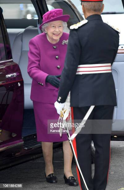 Queen Elizabeth II attends the Anglo-Norse Society centenary reception at The Naval & Military Club on November 15, 2018 in London, England. Queen...
