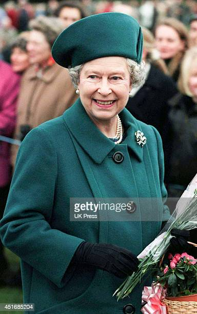 KINGDOM DECEMBER 25 Queen Elizabeth II attends the annual Christmas Day service at Sandringham Church on December 25 1997 in Sandringham England