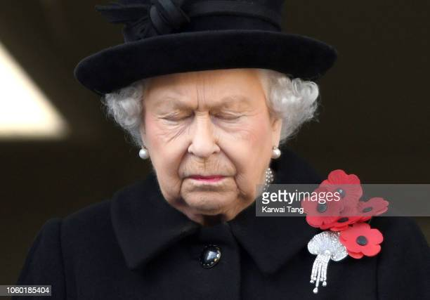 Queen Elizabeth II attends the annual Remembrance Sunday memorial at The Cenotaph on November 11 2018 in London England The Armistice ending the...