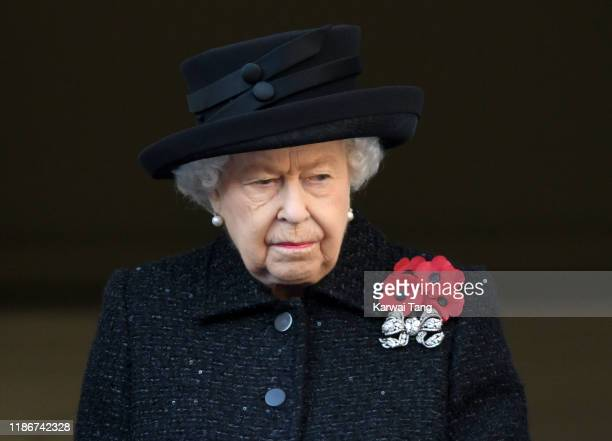 Queen Elizabeth II attends the annual Remembrance Sunday memorial at The Cenotaph on November 10, 2019 in London, England.
