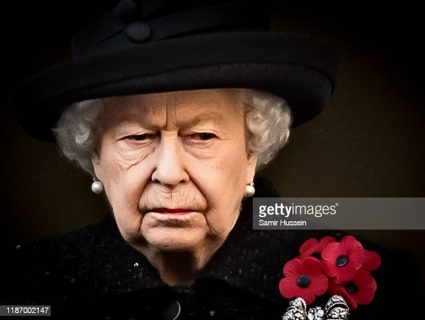 Queen Elizabeth II attends the annual Remembrance Sunday memorial at The Cenotaph on November 10 2019 in London England