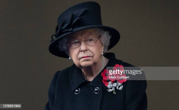Queen Elizabeth II attends the annual Remembrance Sunday memorial at The Cenotaph on November 8, 2020 in London, England.