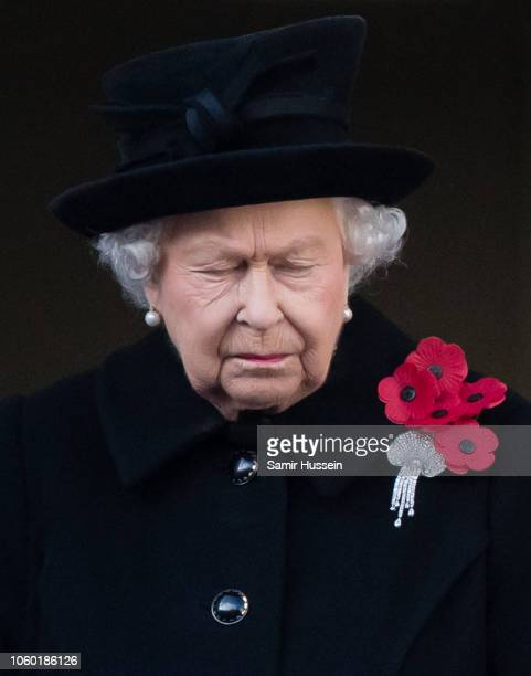 Queen Elizabeth II attends the annual Remembrance Sunday memorial on November 11 2018 in London England