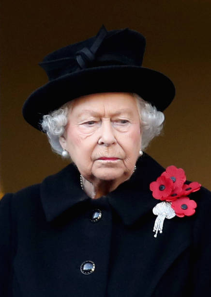 Queen Elizabeth II attends the annual Remembrance Sunday memorial on November 11 2018 in London England The armistice ending the First World War...