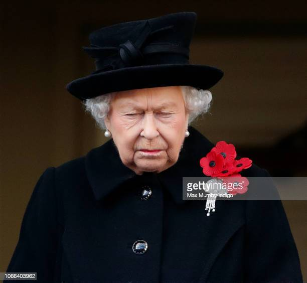 Queen Elizabeth II attends the annual Remembrance Sunday Service at The Cenotaph on November 11 2018 in London England The armistice ending the First...