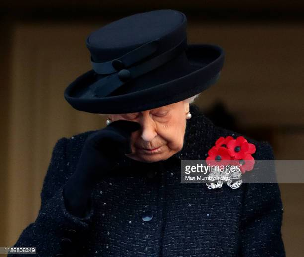 Queen Elizabeth II attends the annual Remembrance Sunday service at The Cenotaph on November 10, 2019 in London, England. The armistice ending the...