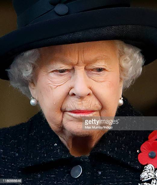 Queen Elizabeth II attends the annual Remembrance Sunday service at The Cenotaph on November 10 2019 in London England The armistice ending the First...