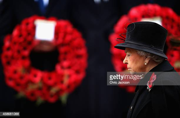 Queen Elizabeth II attends the annual Remembrance Sunday Service at the Cenotaph on Whitehall on November 9 2014 in London United Kingdom People...