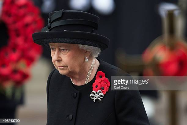 Queen Elizabeth II attends the annual Remembrance Sunday Service at the Cenotaph on Whitehall on November 8 2015 in London United Kingdom People...