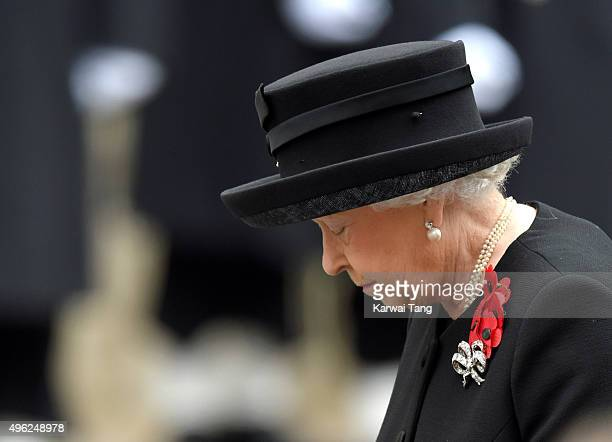 Queen Elizabeth II attends the annual Remembrance Sunday Service at the Cenotaph, Whitehall on November 8, 2015 in London, England.