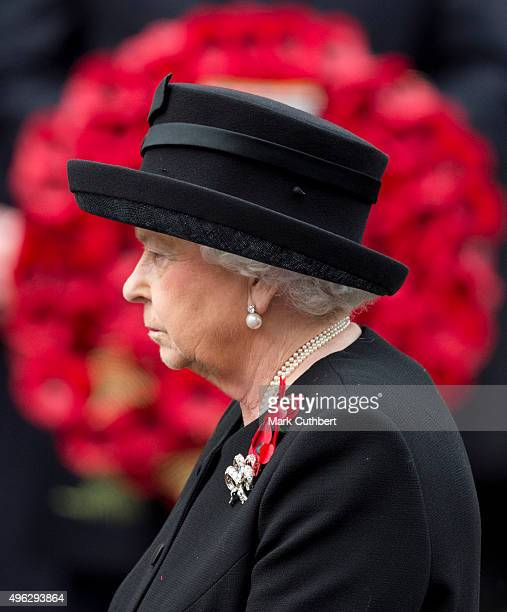 Queen Elizabeth II attends the annual Remembrance Sunday Service at the Cenotaph on Whitehall at The Cenotaph on November 8 2015 in London England...