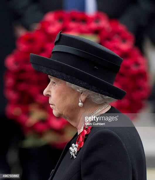 Queen Elizabeth II attends the annual Remembrance Sunday Service at the Cenotaph on Whitehall at The Cenotaph on November 8, 2015 in London, England....