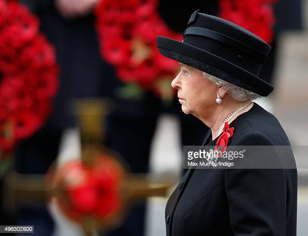 Queen Elizabeth II attends the annual Remembrance Sunday Service at the Cenotaph on Whitehall on November 8 2015 in London England The National...