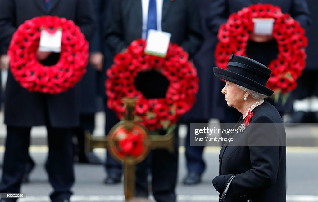Queen Elizabeth II attends the annual Remembrance Sunday Service at the Cenotaph on Whitehall on November 8, 2015 in London, England. The National Service of Remembrance takes place at the Cenotaph in Whitehall, London. The Queen, senior politicians, including the British Prime Minister and former British Prime Ministers, alongside representatives from the armed forces pay tribute to those who have suffered or died at war.