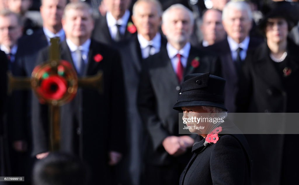Queen Elizabeth II attends the annual Remembrance Sunday Service at the Cenotaph on Whitehall on November 13, 2016 in London, England. The Queen, senior politicians, including the British Prime Minister and representatives from the armed forces pay tribute to those who have suffered or died at war.