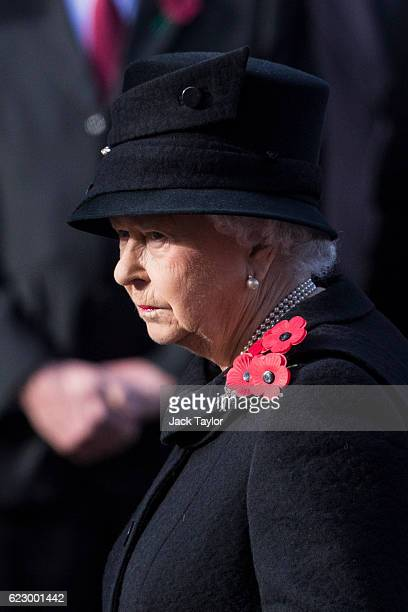 Queen Elizabeth II attends the annual Remembrance Sunday Service at the Cenotaph on Whitehall on November 13 2016 in London England The Queen senior...