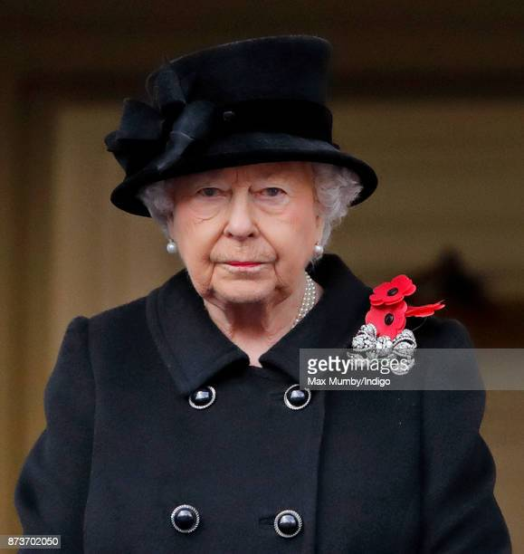 Queen Elizabeth II attends the annual Remembrance Sunday Service at The Cenotaph on November 12 2017 in London England This year marks the first time...
