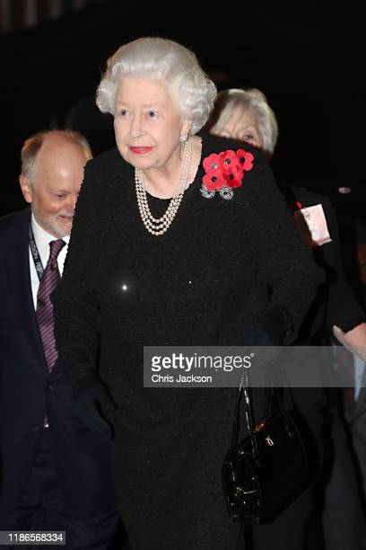 Queen Elizabeth II attends the annual Royal British Legion Festival of Remembrance at the Royal Albert Hall on November 09 2019 in London England