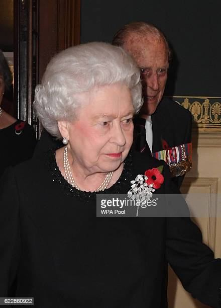 Queen Elizabeth II attends the annual Royal Festival of Remembrance at the Royal Albert Hall on November 12 2016 in London England