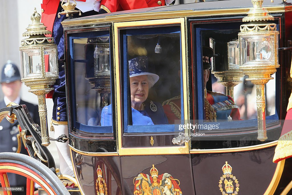 Queen Elizabeth II attends the annual Trooping the Colour Ceremony at Buckingham Palace on June 15, 2013 in London, England. Today's ceremony which marks the Queens official birthday will not be attended by Prince Philip the Duke of Edinburgh as he recuperates from abdominal surgery and will also be The Duchess of Cambridge's last public engagement before her baby is due to be born next month.