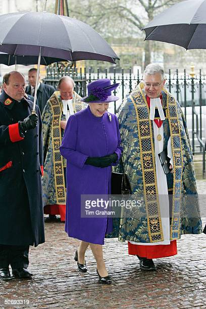 Queen Elizabeth II attends the Anzac Day service at Westminster Abbey on April 25 2005 in London England