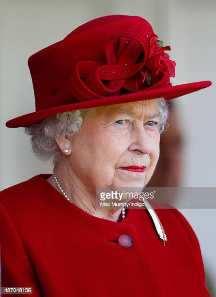 Queen Elizabeth II attends the Braemar Gathering at The Princess Royal and Duke of Fife Memorial Park on September 5 2015 in Braemar Scotland There...