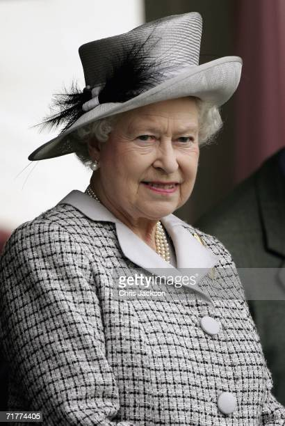 Queen Elizabeth II attends the Braemar Gathering at the Princess Royal and Duke of Fife Memorial Park on September 2 2006 in Braemar Scotland Large...