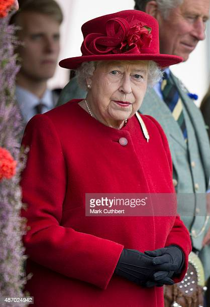 Queen Elizabeth II attends the Braemar Gathering on September 5 2015 in Braemar Scotland There has been an annual gathering at Braemar in the heart...