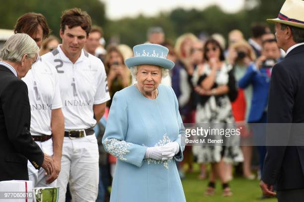 Queen Elizabeth II attends the Cartier Queen's Cup Polo at Guards Polo Club on June 17 2018 in Egham England