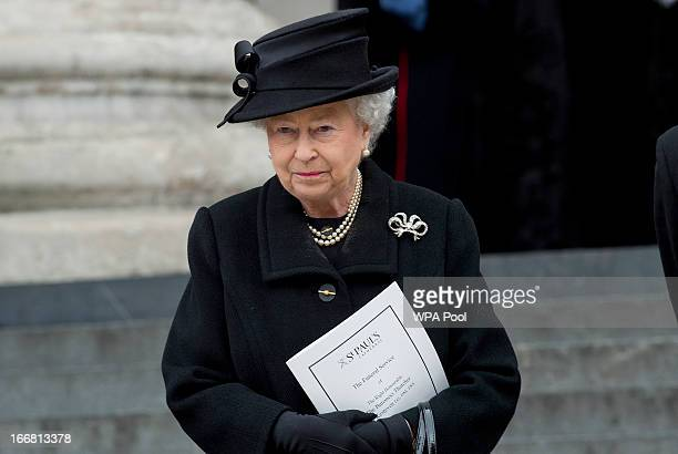 Queen Elizabeth II attends the Ceremonial funeral of former British Prime Minister Baroness Thatcher St Paul's Cathedral on April 17 2013 in London...