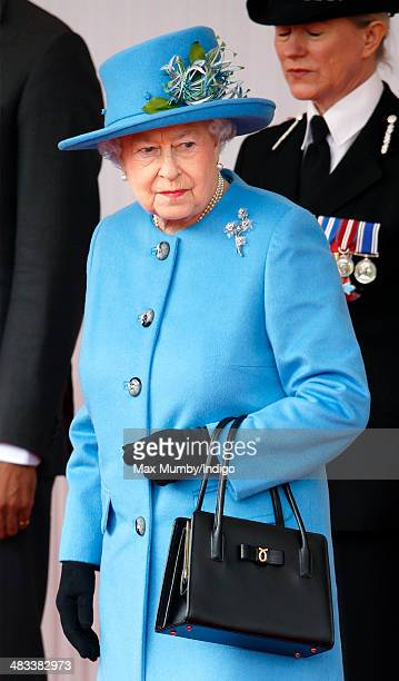 Queen Elizabeth II attends the ceremonial welcome for Irish President Michael D Higgins on April 8 2014 in Windsor England This is the first official...